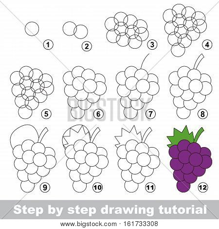 Drawing tutorial for children. Easy educational kid game. Simple level of difficulty. Kid education and gaming. Indoor games for children. How to draw Ripe Grapes.