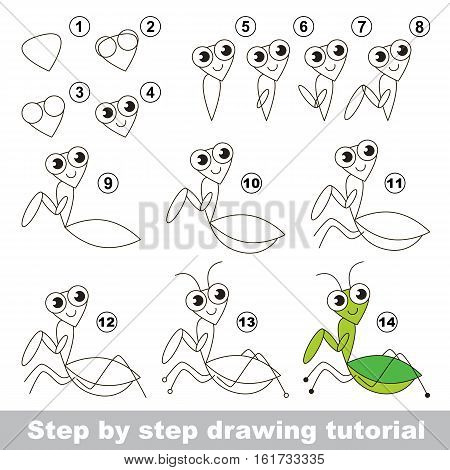 Drawing tutorial for children. Easy educational kid game. Simple level of difficulty. Kid education and gaming. How to draw The Mantis.
