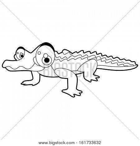 coloring pattern page. Funny cute cartoon animals.  Reptiles. Crocodile