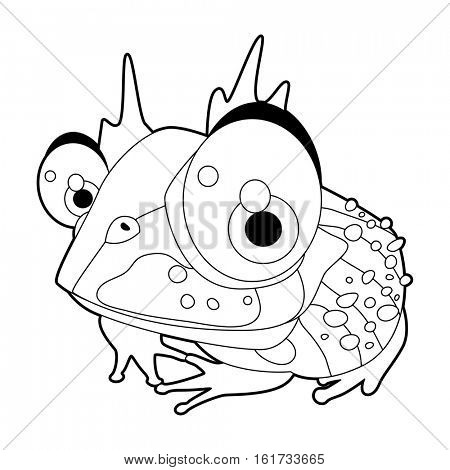 coloring pattern page. Funny cute cartoon animals.  Reptiles. Toad