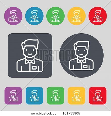 Waiter Icon Sign. A Set Of 12 Colored Buttons. Flat Design. Vector