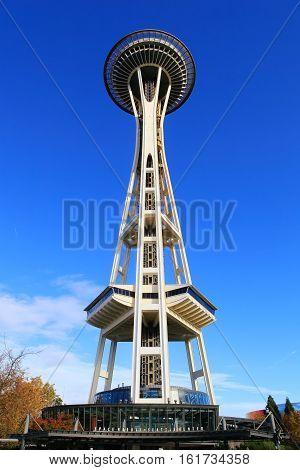 SEATTLE, WASHINGTON - October 25, 2016: Seattle Space Needle on sunny morning in autumn