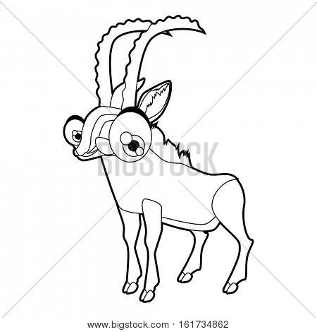 Coloring cute cartoon animals collection. Cool funny illustration of Blackbuck antelope