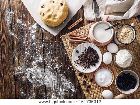 Dough and Ingredients for Homemade Oatmeal Cookies