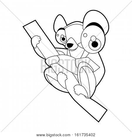 Coloring cute cartoon animals collection. Cool funny illustration of Lemur