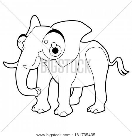 Coloring cute cartoon animals collection. Cool funny illustration of African Elephant