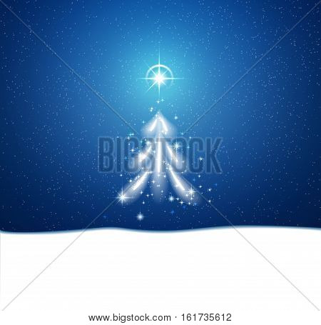 Christmas and New Year winter blue background with blizzard and stars