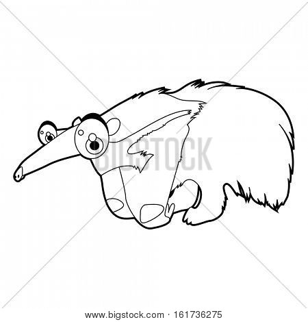 Coloring cute cartoon animals collection. Cool funny illustration of Anteater