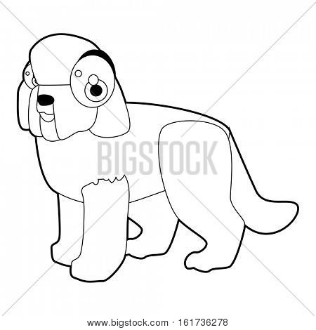 vector funny coloring animal dog breeds character book collection. Cool cute cartoon flat thin line style illustration of Barbet