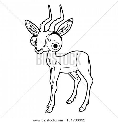 Coloring cute cartoon animals collection. Cool funny illustration of Impala