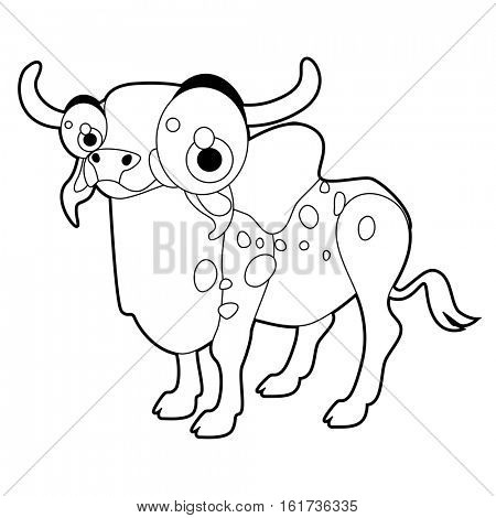 Coloring cute cartoon animals collection. Cool funny illustration of Zebu