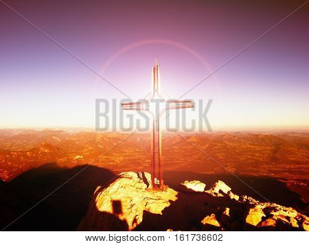 Lens Flare Light, Strong Effect.  Cross On Peak. Iron Crucifix At Mountain Top In Alp
