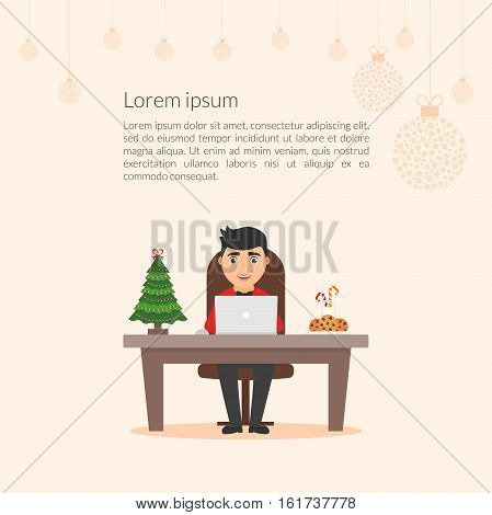 Merry Christmas and Happy New Year decorated workplace office. Cute cartoon character businessman. Christmas illustration. Xmas tree. Flat design vector.