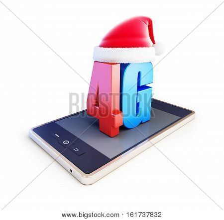 4g smartphone and text 4G Santa Hat 4G cellular high speed data wireless connection. 3d Illustrations on white background