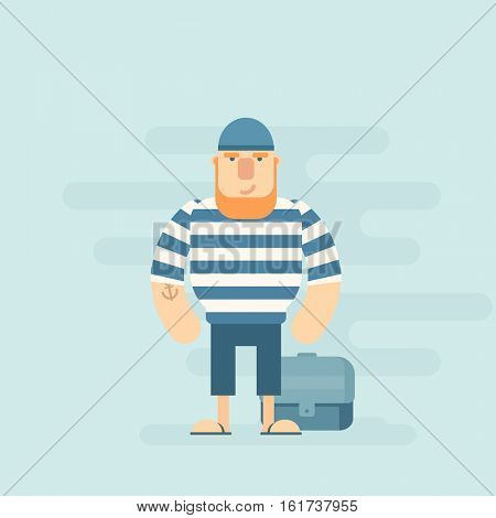 Sailor standing near treasure chest. Flat character.