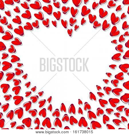 Heart Shape Frame Made From Red Hearts. Valentines Day Card Design with Place for your text. Can be used also as Wedding invitation template.