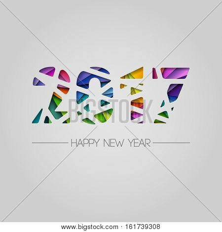 Colorful text on a white background, Happy New Year and 2017, greeting card. Eps10 vector
