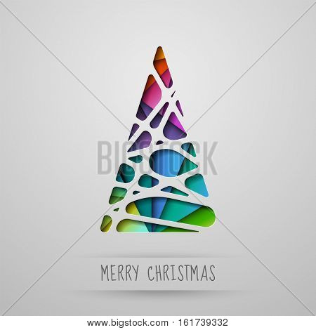 Colorful abstract Christmas tree on a light grey background, paper cut out, eps10 vector