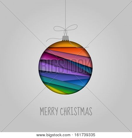 Abstract colorful bauble or ornament, merry Christmas greeting card, eps10 vector
