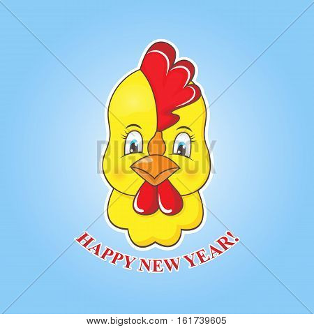 Sticker yellow chick on a blue background. Rooster symbol of the New Year 2017