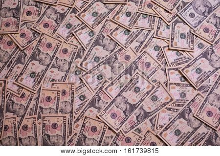background of the money ten dollar bills front side face back side. background of dollars millionaire get rich get paid