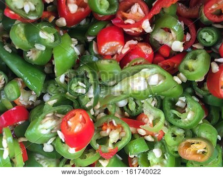 Chilli Padi, Bird's Eye Chilli, Bird Chilli or Thai pepper slice on the background