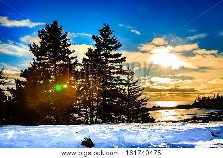 Sunset in New Brunswick, Canada, winter 2016