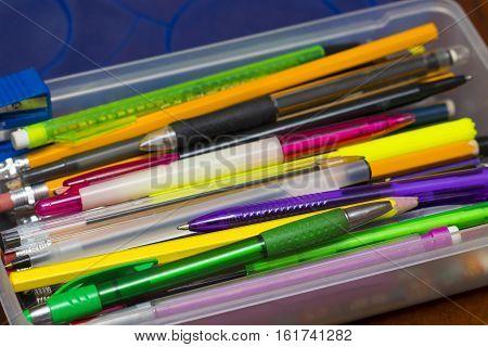 Pencil Box With Pens, Pencils, Felt Tip Marker Pens