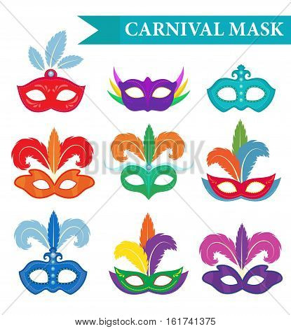 Masquerade mask set, flat style. Carnival mask collection isolated on white background. Party mask. Vector illustration, clip art