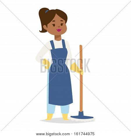 Housewife girl homemaker cleaning pretty woman wash. Housewife girl and home cleaning equipment icon in flat style vector illustration.