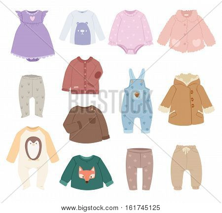 Infants baby accessories child clothes vector. Baby clothes modern shirt collection on white background. Infants wear garment design child clothes fashion cotton.
