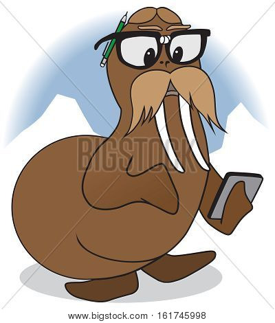 Nerd cartoon walrus is checking his computations