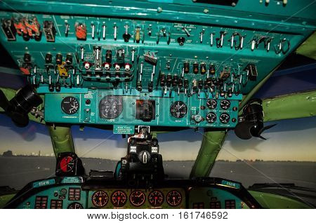 avionics equipment in the cabin of the old aircraft