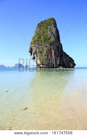 Landscape with rock on tropical beach (Pranang beach), Krabi, Thailand