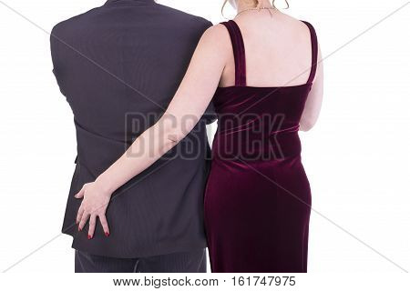 Female grabbing male buttocks tenderness concept. Isolated on white background.