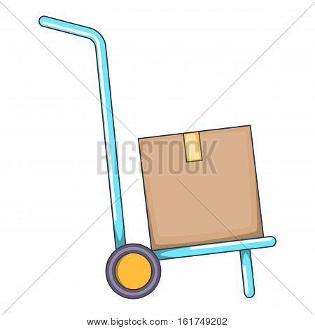 Warehouse trolley icon. Cartoon illustration of warehouse trolley vector icon for web design