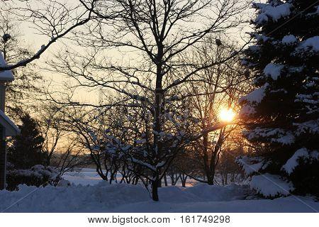 Beautiful winter sunset in Hoffman Estates, Illinois near the Poplar Creek Seven Bridges Golf Course.