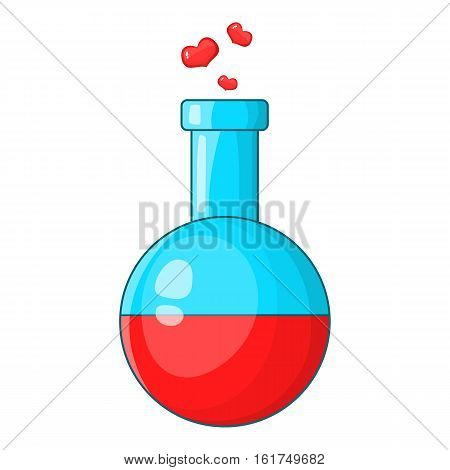 Flask with love fluid icon. Cartoon illustration of flask with love fluid vector icon for web design