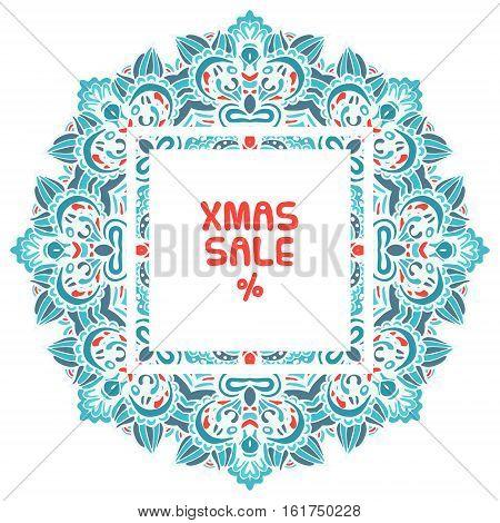 xmas sale text on flower mandala snowflake background snowflake