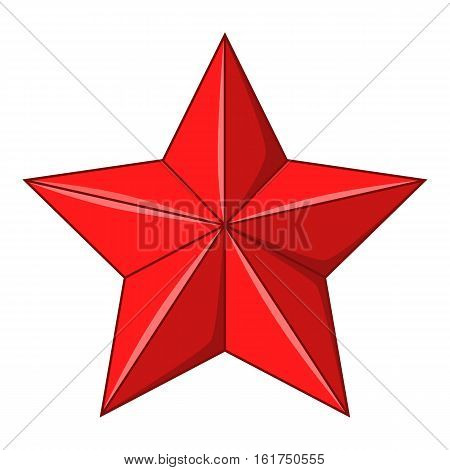 Five-pointed red star icon. Cartoon illustration of five-pointed red star vector icon for web design