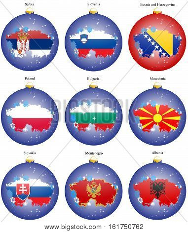 Set Of Icons. Christmas Tree Balls With Flags Of The Europe. Vector. 3D.