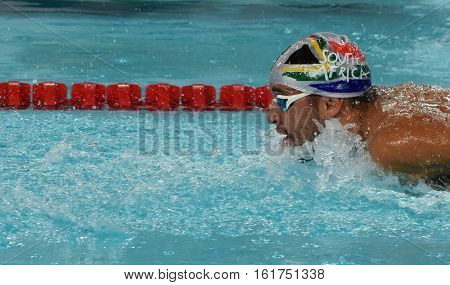 Hong Kong China - Oct 29 2016. Olympic and world champion swimmer LE CLOS Chad (RSA) swimming in the Men's Butterfly 100m Preliminary Heat. FINA Swimming World Cup Victoria Park Swimming Pool.