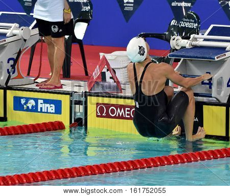 Hong Kong China - Oct 30 2016. Competitive swimmer Katinka HOSSZU (HUN) at the start of the Women's Backstroke 100m Preliminary Heat. FINA Swimming World Cup Victoria Park Swimming Pool.