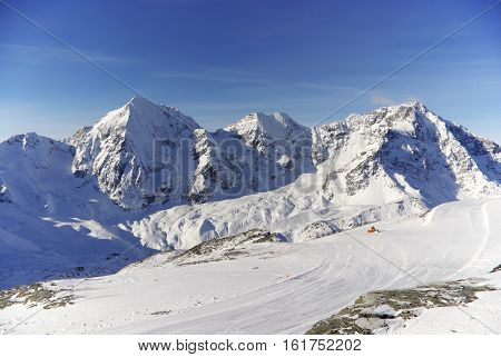 Snowy Peaks: Ortles and Gran Zebru from Sulden, Italy
