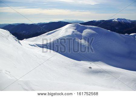 Snowy Peaks: Appennines toward Tirreno sea, Italy