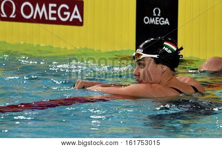 Hong Kong China - Oct 30 2016. Competitive swimmer Zsuzsanna JAKABOS (HUN) after Women's 200m Butterfly Preliminary Heat. FINA Swimming World Cup Preliminary Heats Victoria Park Swimming Pool.