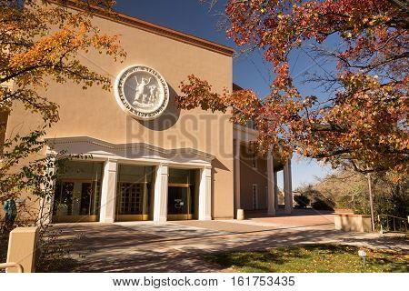 Trees frame the capital building in Santa Fe