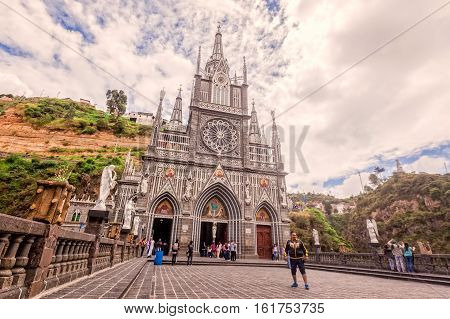 Ipiales Ecuador - 11 September 2016: Las Lajas Colombian Catholic Church Built Between 1916 And 1948 Is A Popular Destination For Religious Believers From All Part Of Latin America Topographically The Most Beautiful In The World South America