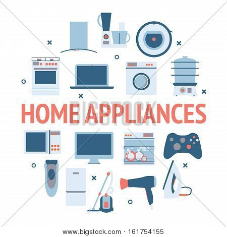 Home electronics appliances circle. Flat design set modern vector icons of home appliances and other house equipment.