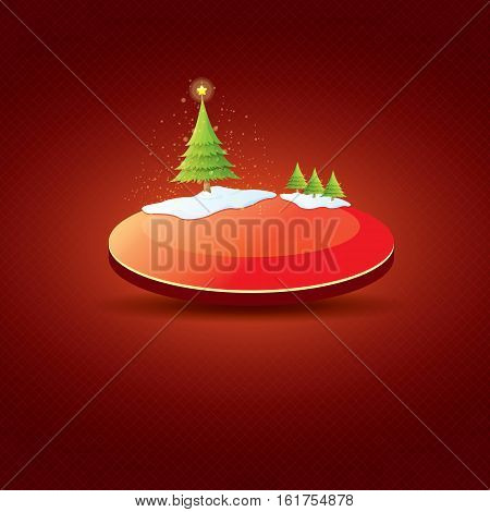 Christmas vector red glossy button with christmas tree and lights. web red christmas button with snow and ice border on classic red background